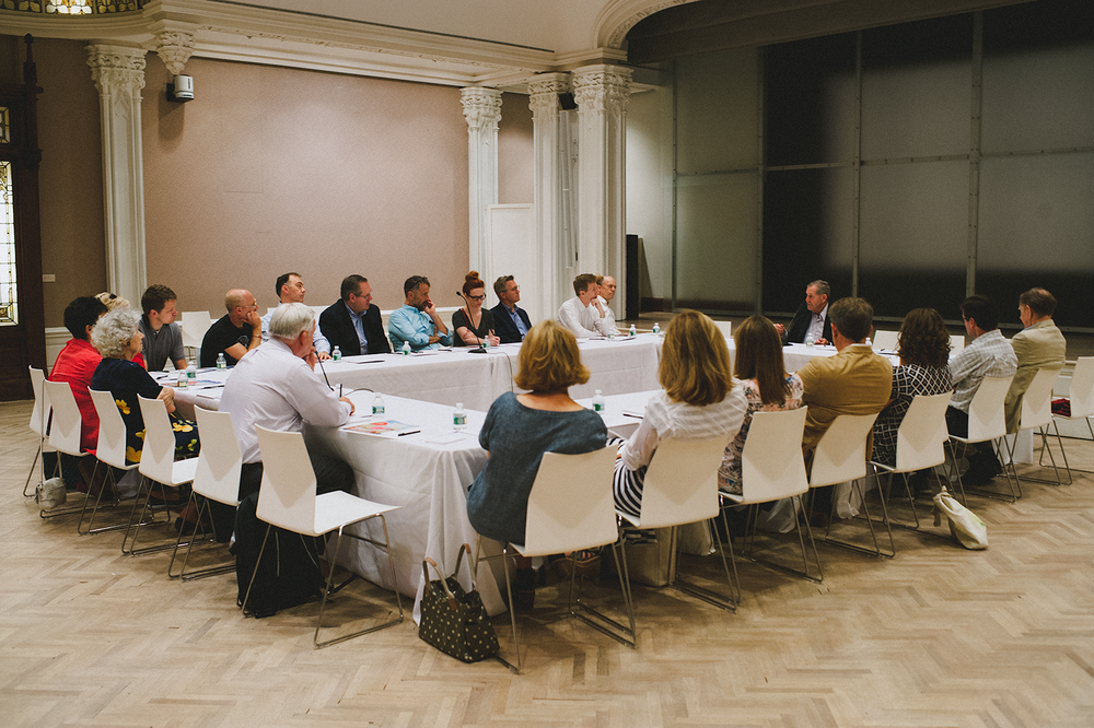 Members of the Executive and Advisory Boards meet with Morris Offit, former chairman of the Jewish Museum, located on the Upper East Side, NY.