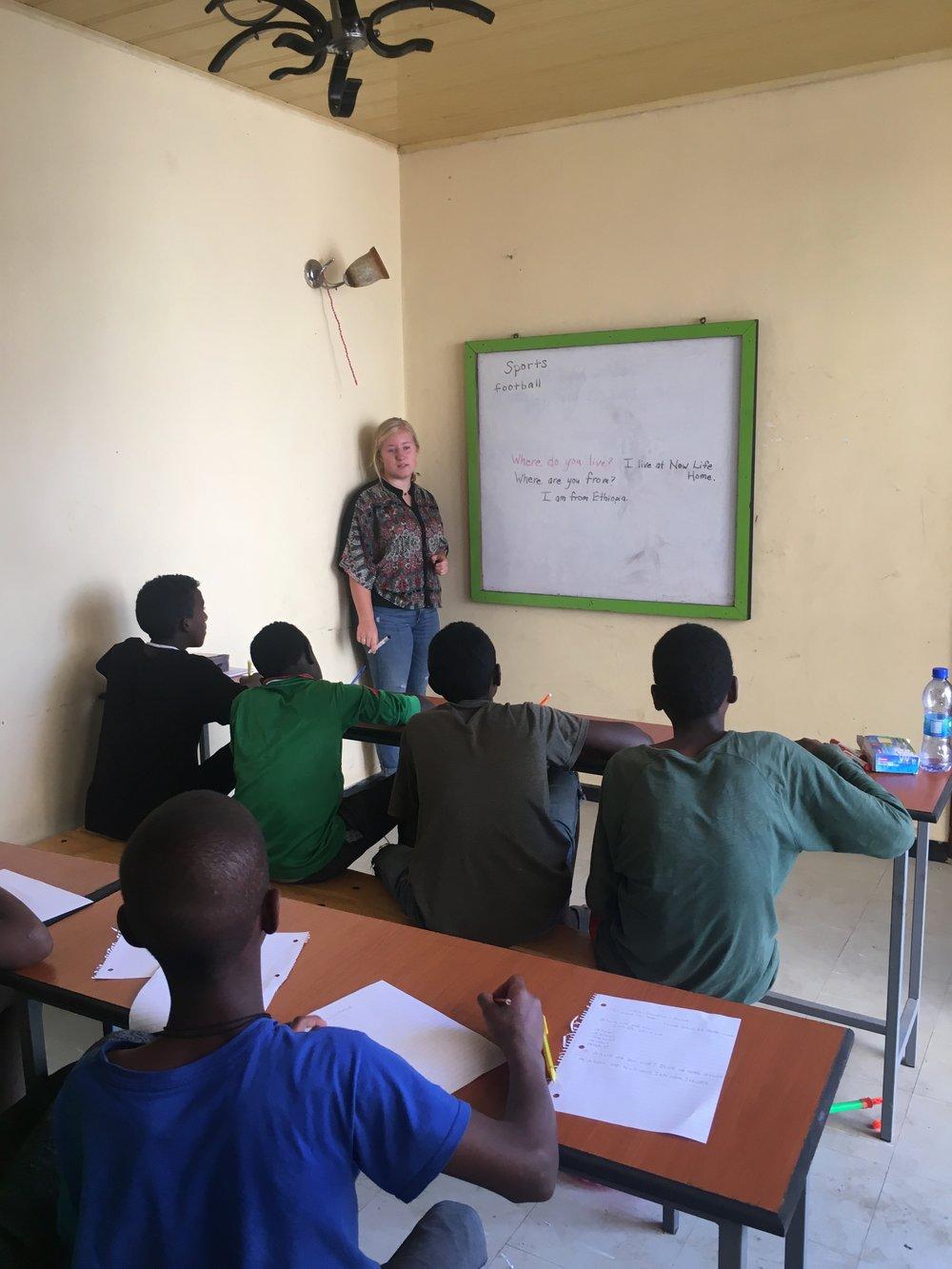 Audrey teaching an English class