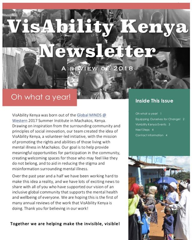 *Update*  We have created a newsletter to share all of the amazing work our team has done over the past year! We are incredibly proud and thankful for our crew of volunteers who have lead this initiative on the ground in Machakos, Kenya and can't wait for what lies ahead in the coming year!  Be sure to visit our website to read the newsletter in full www.visabilitykenya.com  #makingtheinvisiblevisible #mentalhealth #globalhealth #yearinreview #socialinnovation #socialchange #globalminds