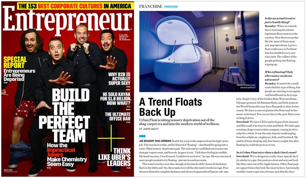 Entrepreneur Magazine - Urban Float Article Feature