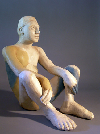 Mavis McClure seated male figure clay sculpture.jpg