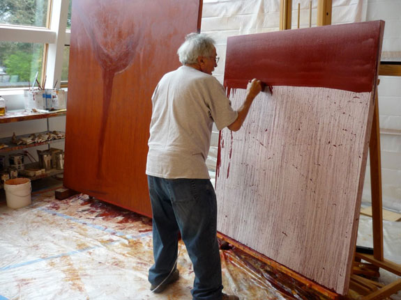 Nathan Oliveira painting in his Palo Alto studio 2010