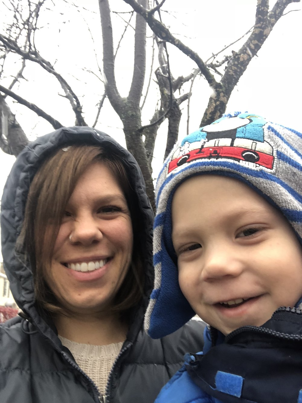 Me and my youngest son enjoying the first snowfall in Buffalo for 2018