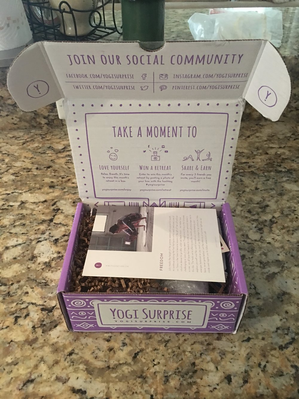 Inside the Yogi Surprise Lifestyle box.