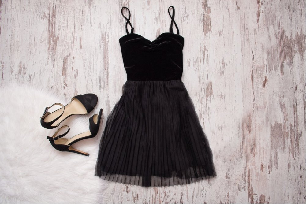 little-black-dress-and-black-shoes-wooden-background-fashionable-picture-id816248984.jpg