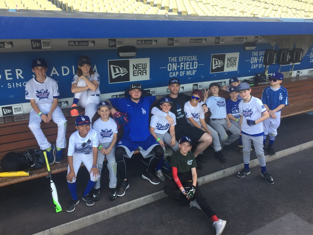 Talking mental skills with Dodgers outfielder Alex Verdugo and youth campers at Dodger's Stadium.