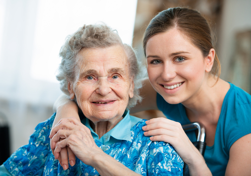 Female caregiver with senior woman