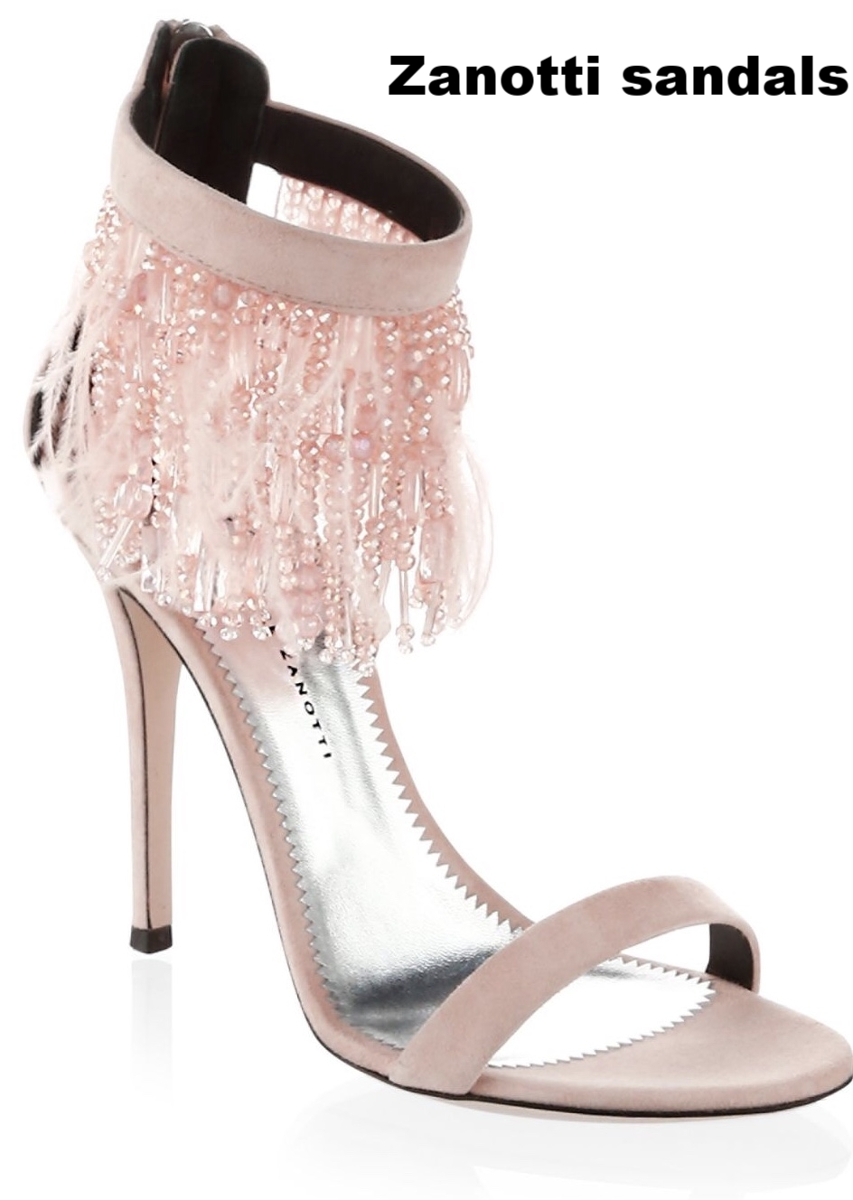 Instead of a plain white satin heel, try a soft blush color with a eye-popping embellishment.