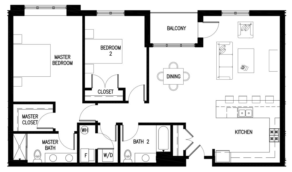 Unit A's have 2 bedrooms, 2 baths and are approximately 1,300 square feet.  Currently not available - fully leased. Rental prices start at $2,695 per month.