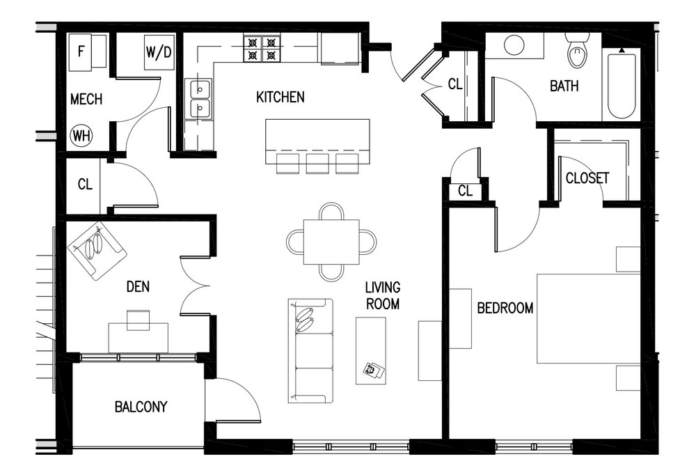 Unit B's have 1 bedroom, 1 study/den and are approximately 1,000 square feet.  Currently not available - fully leased. Rental prices start at $1,995 per month.