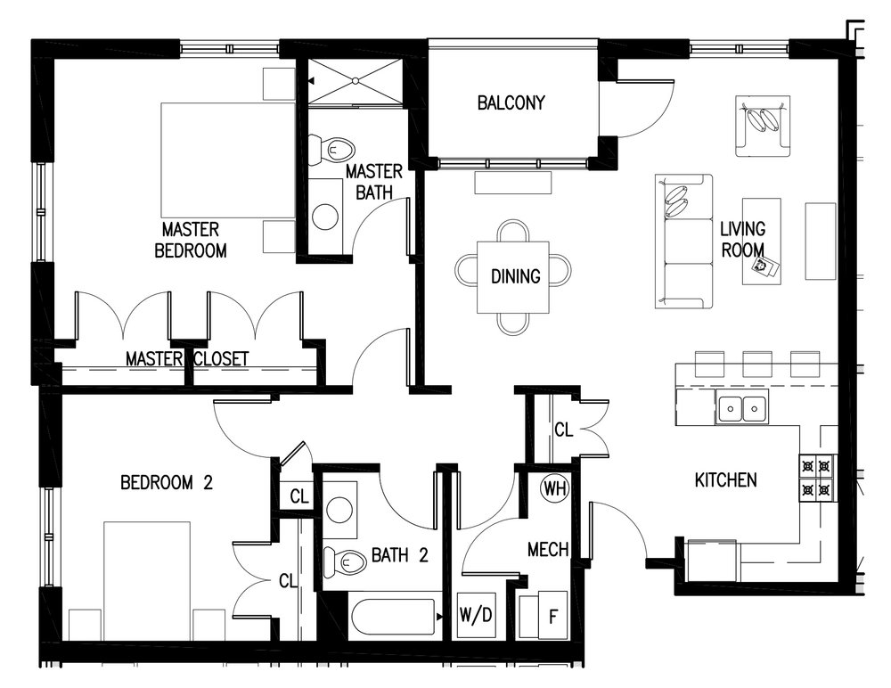 Unit C's have 2 bedrooms, 2 baths and are approximately 1,140 square feet.  Currently one available. Rental prices start at $2,295 per month.