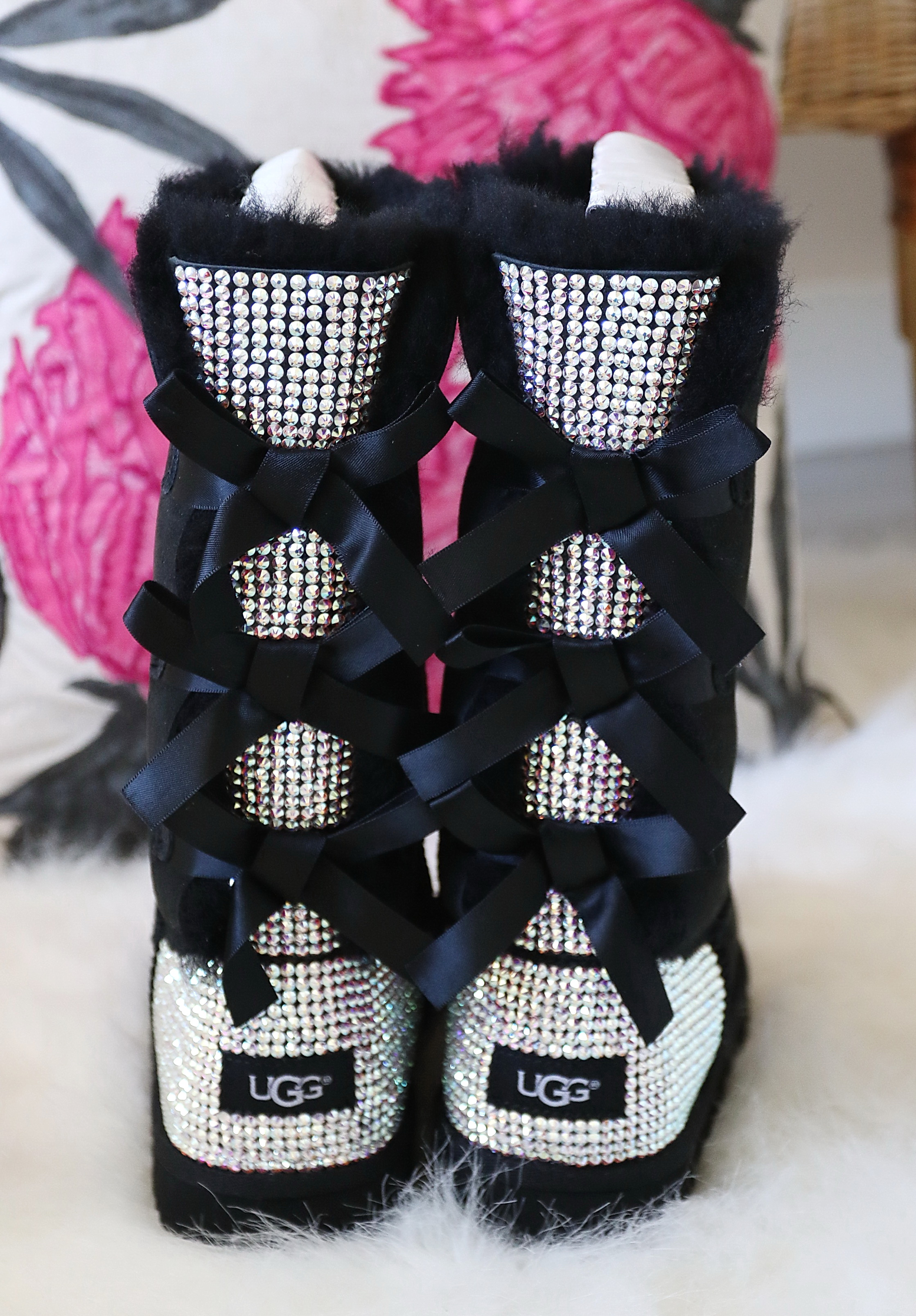 d5a9a15d773 Womens Swarovski Crystal Rhinestone Tall Bailey Bow UGG Boots — Alice Lee  Princess Boutique