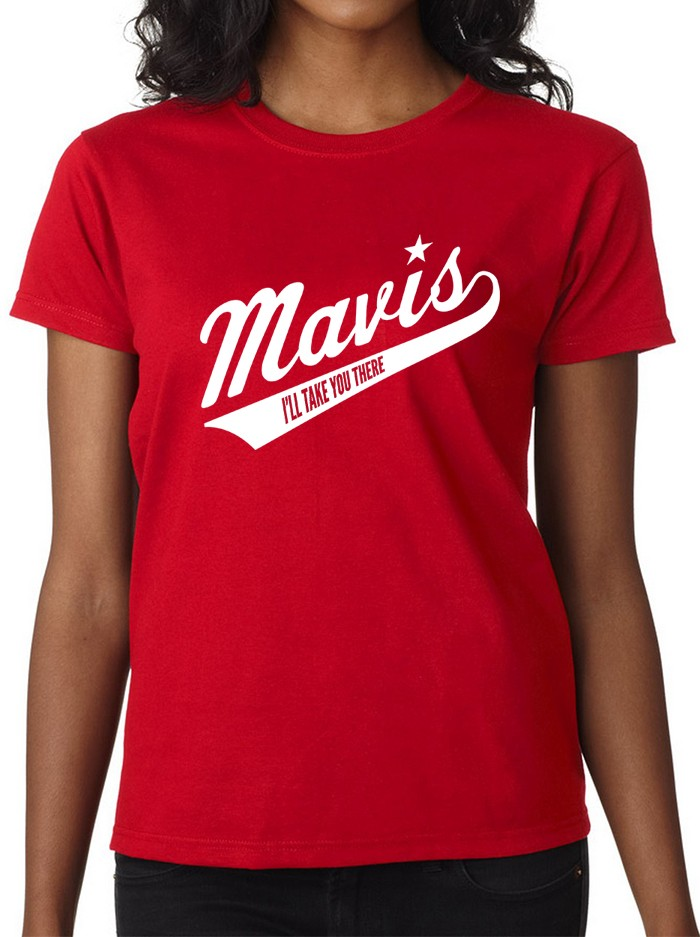 Women's Red Baseball Logo T