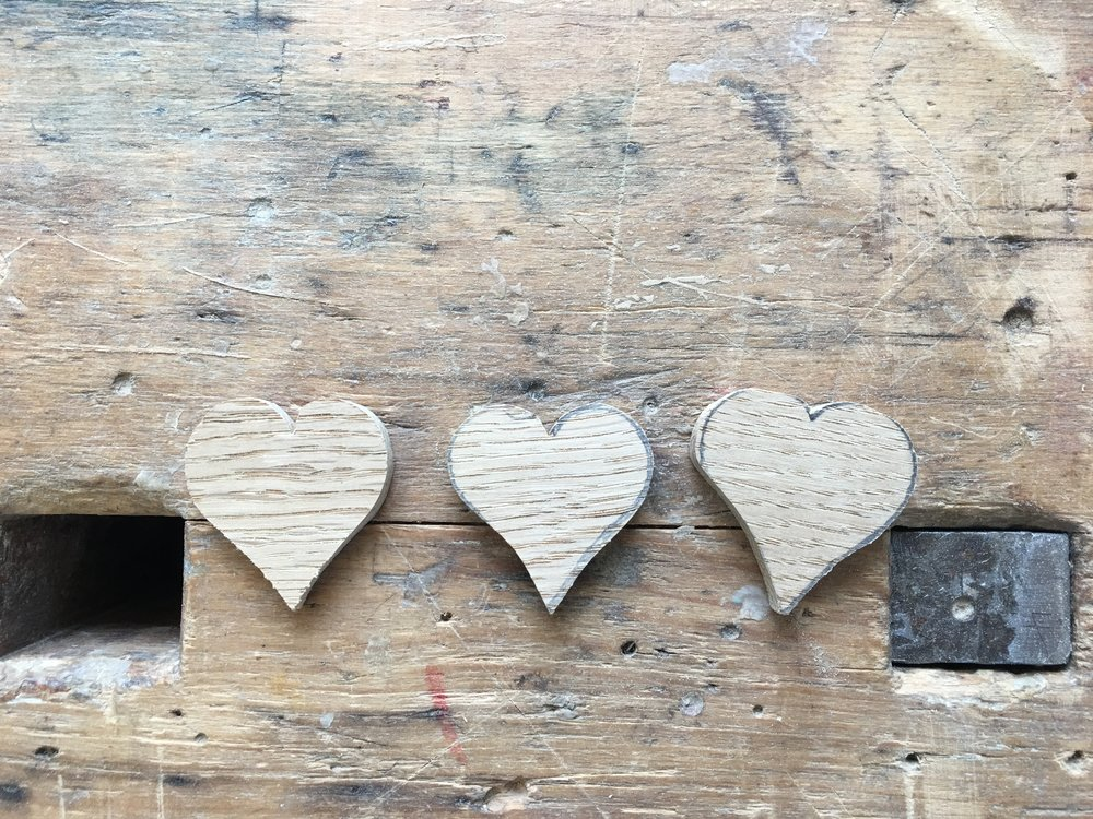 Hearts that I made in the wood working shop.