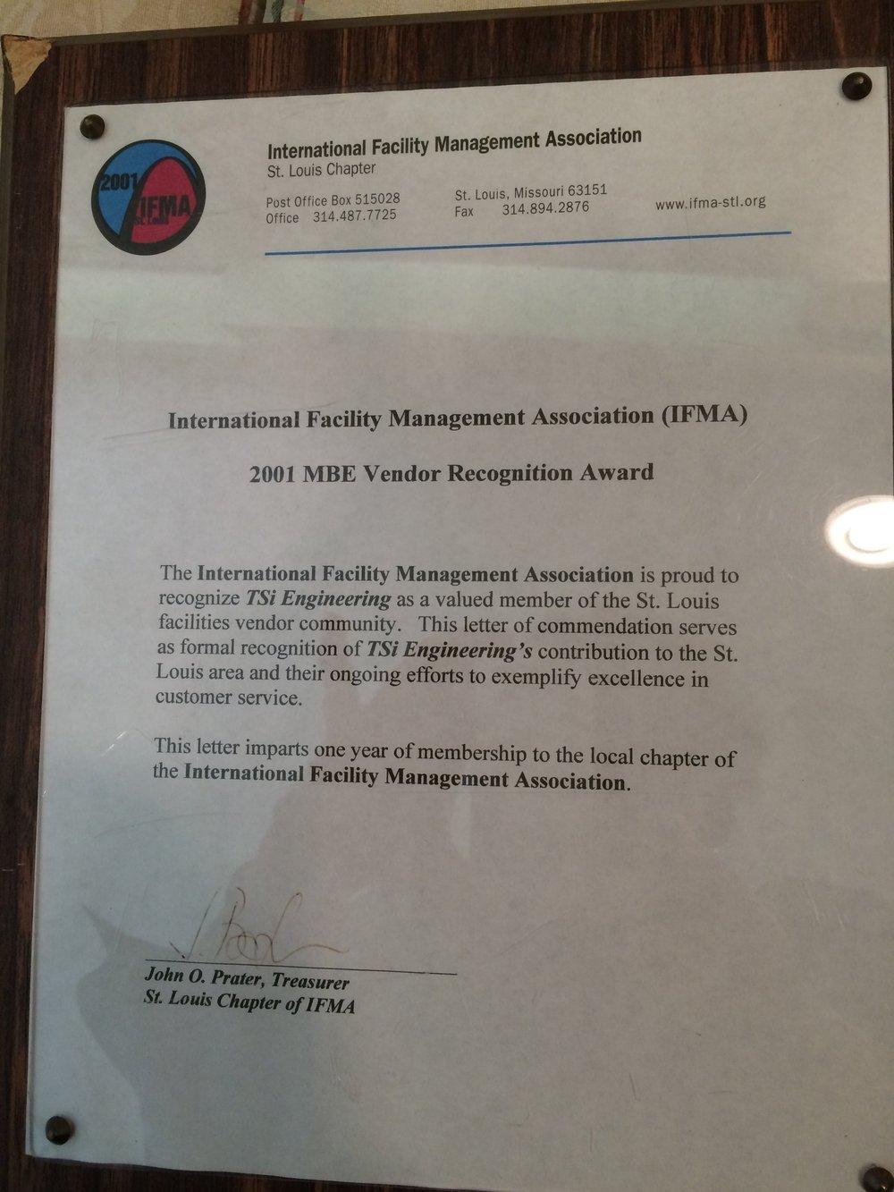 MBE Vendor Recognition Award