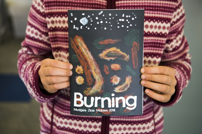Launching the Burning zine at the 2018 Mudgee Readers' Festival. Photo credit: Amber Hooper.