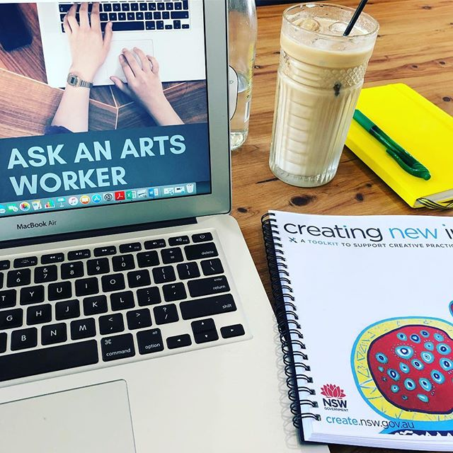 Ask An Arts Worker will be at the @wpccdubbo @thegallerydubbo until 2:30pm today to talk about your 2019 cultural plans and professional development and we've brought along some resources including the @creatensw #creatingnewincome #toolkit! #professionaldevelopment #culturalplanning #artspractice #askanartsworker #dubbo #funding #communitydevelopment #oranaarts #havecoffeewillconquer #icedlatte #mondaymotivation