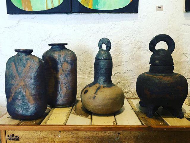 Ceramics under paintings atop @adhocfurniture at #Mudgee #gallery @artisanonlewis  #latergram #regionalarts #alltheart #ceramics #pottery #visualarts #handcrafted #mudgeearts #mudgeeartspace #oranaregion