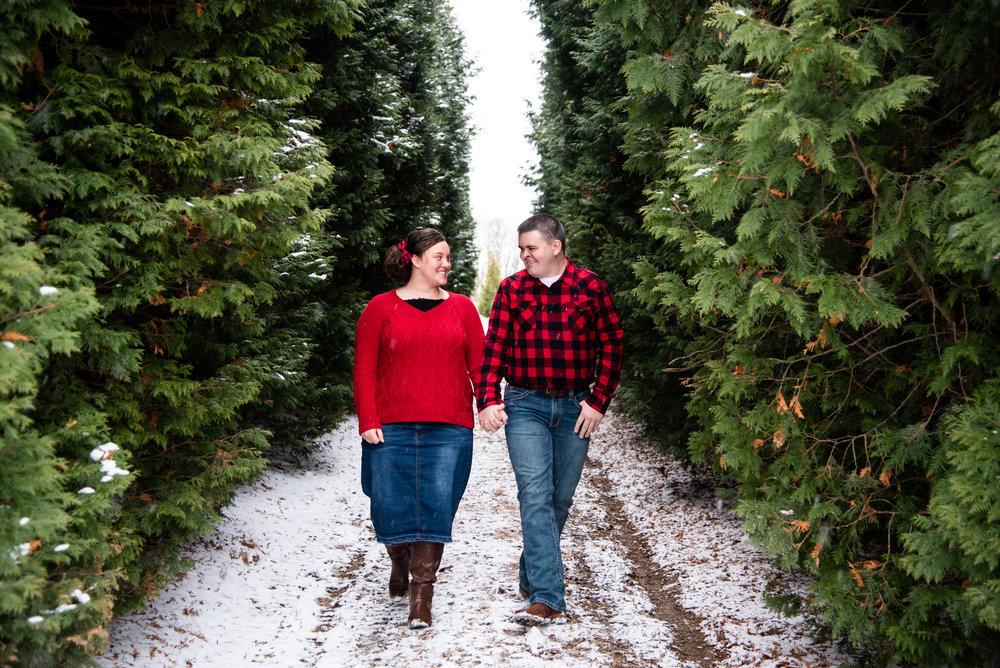 Kyla Jo Photography // Muncie, Indiana // Couple Photographer // Whitetail Tree Farm // Christmas Photos // Midwest Photographer // Indianapolis Photographer // Walking Photos // Lifestyle Not Posed