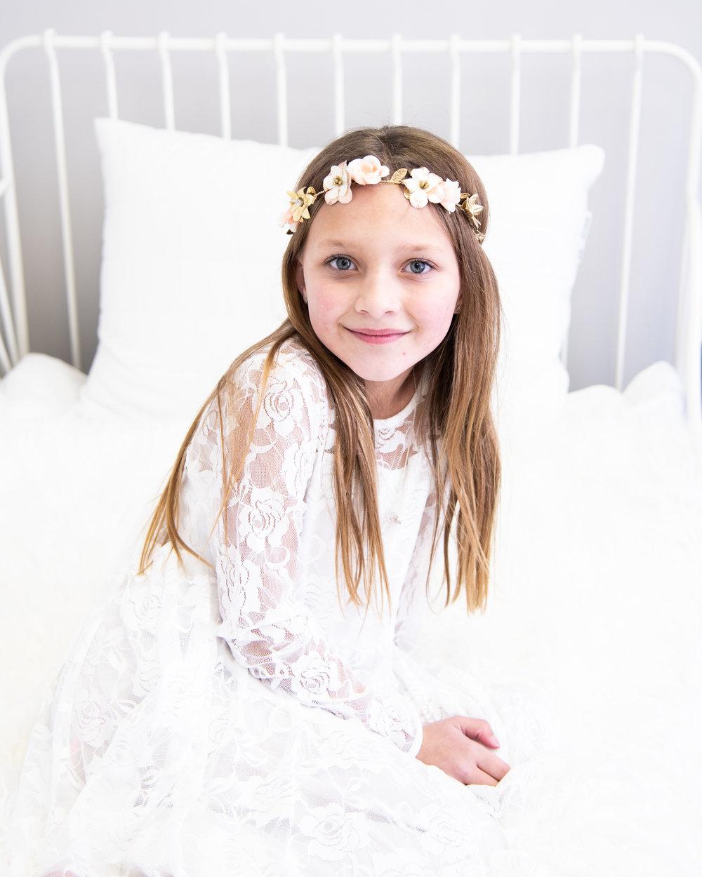 Kyla Jo Photography // Muncie, Indiana Photographer // Indiana Photographer // Midwest Photographer // studio photographer // kids in studio // portraits of kids // portrait photographer // 8 year old photos // girl in white lacy dress
