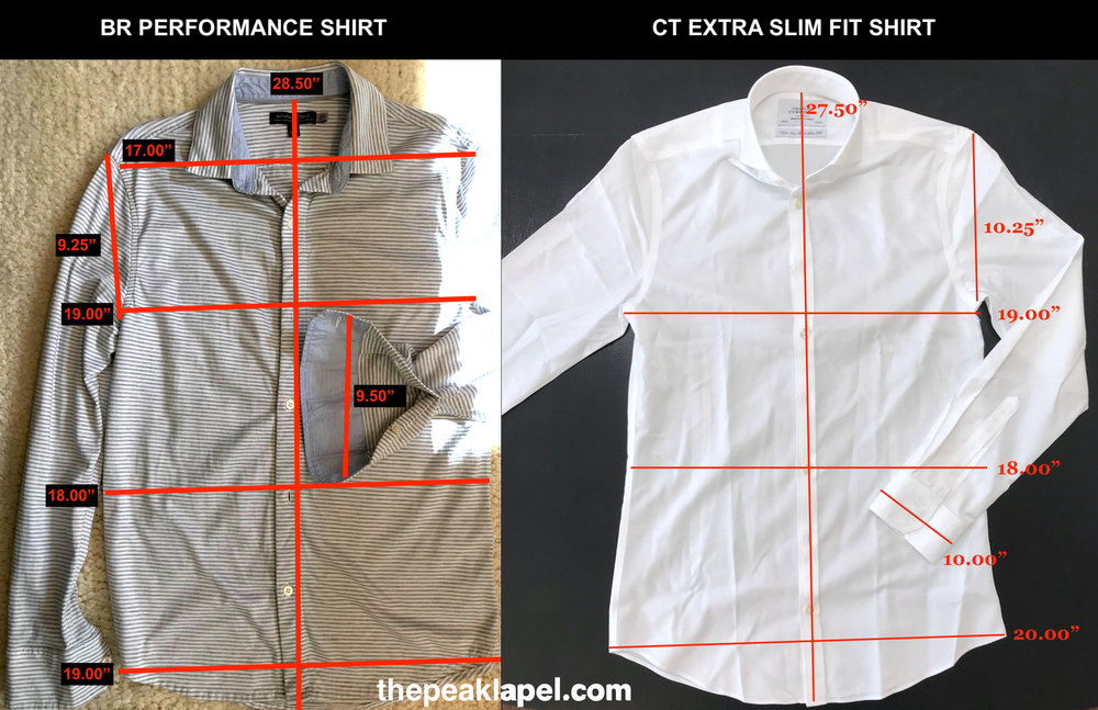 A comparison to the very common and well-known Charles Tyrwhitt Extra Slim Fit shirt for perspective on fit.