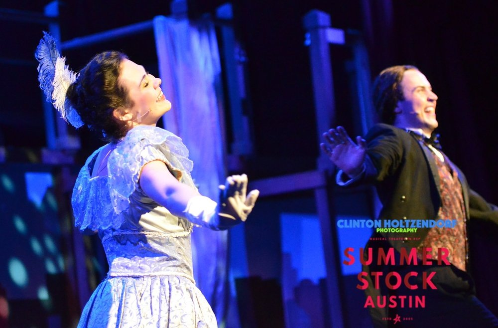 "Kate Brimmer (left) and Brian Corkum (right) performing ""Who Do You Love, I Hope"" in  Annie Get Your Gun."