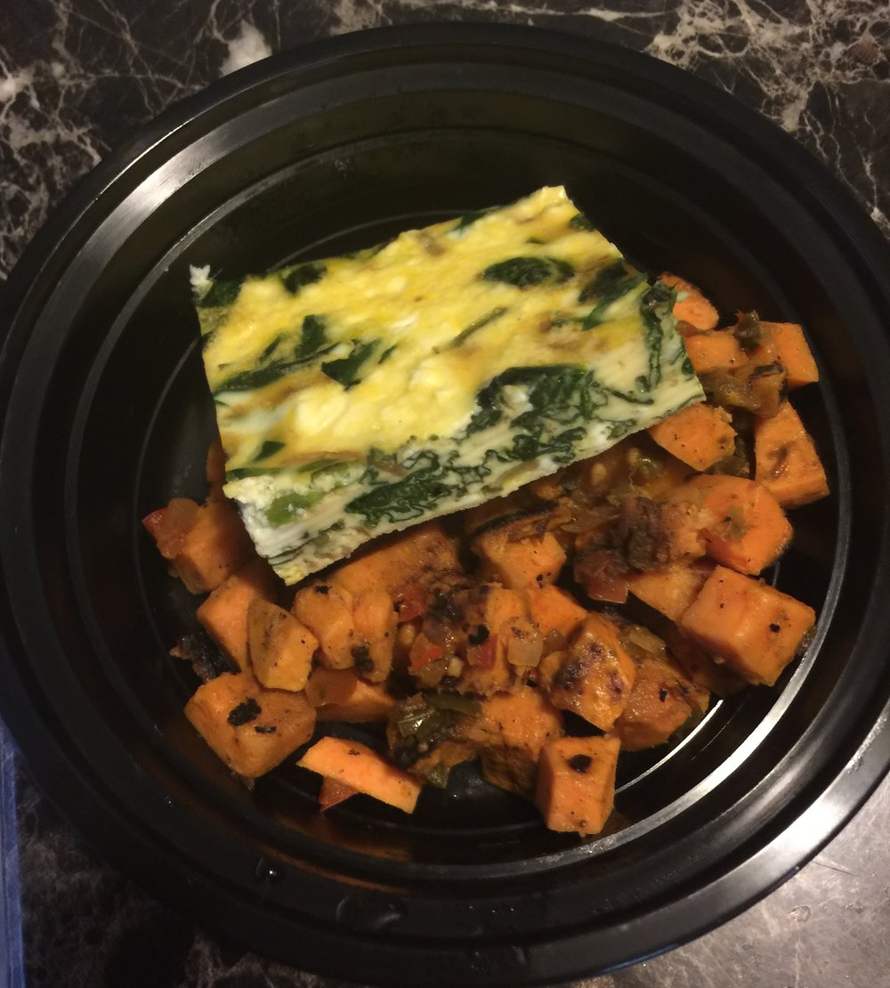 Spinach & Feta Egg Bake with Sweet Potato O'Brien