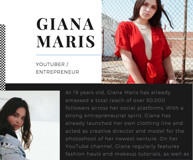 media kit - During my internship at StyleHaul, Inc., a multi-channel network, I created media kits for content creators in order to establish paid partnerships with brands in the fashion, beauty, and lifestyle world.