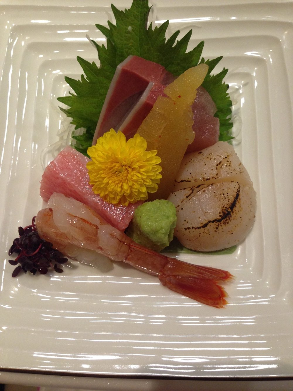 Sashimi plate: scallop, prawn, tuna toro, and some other fish :)