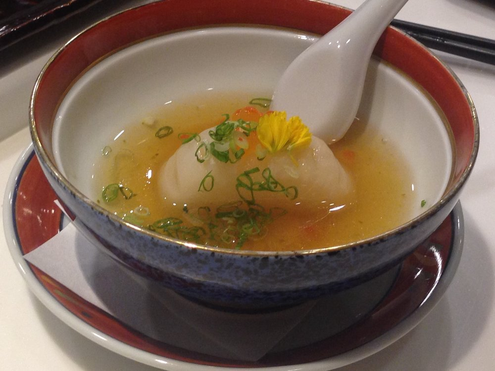 Turnip soup with salmon roe