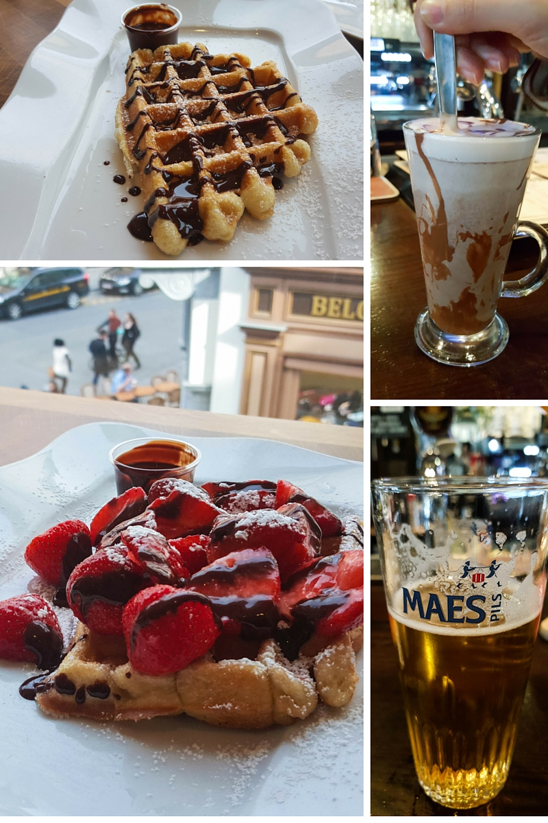 Waffles, decadent hot chocolate, and local beer