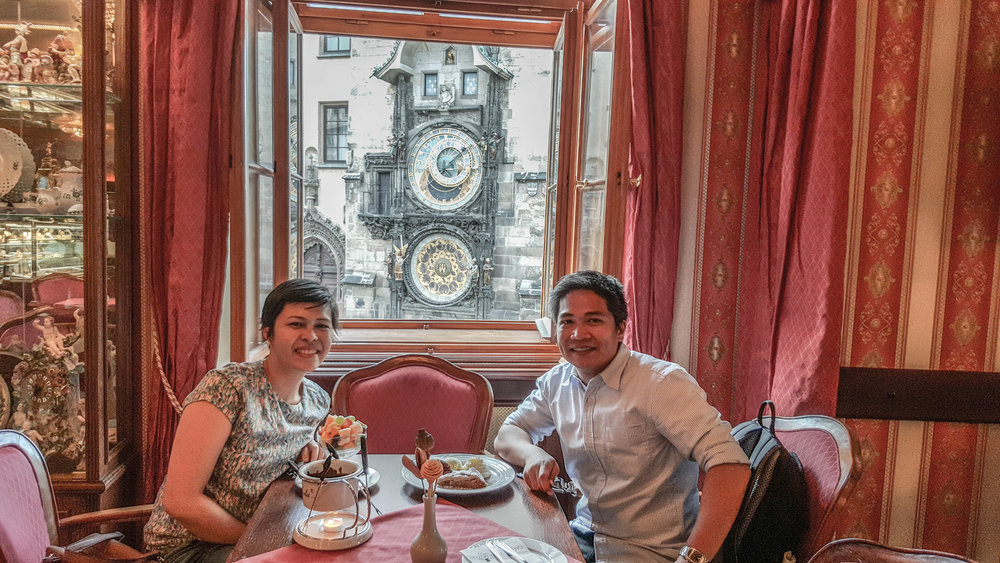 Café Mozart is best place to enjoy the view: Astronomical clock as it moves by the hour.