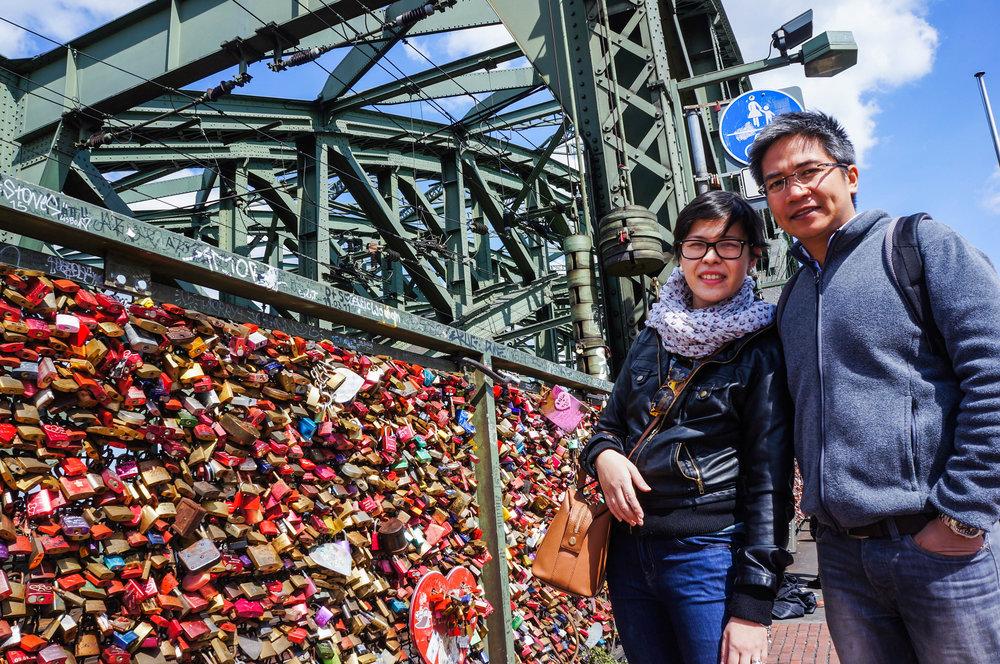 "Us in Hohenzollernbrücke Bridge where you can find the ""love locks"""