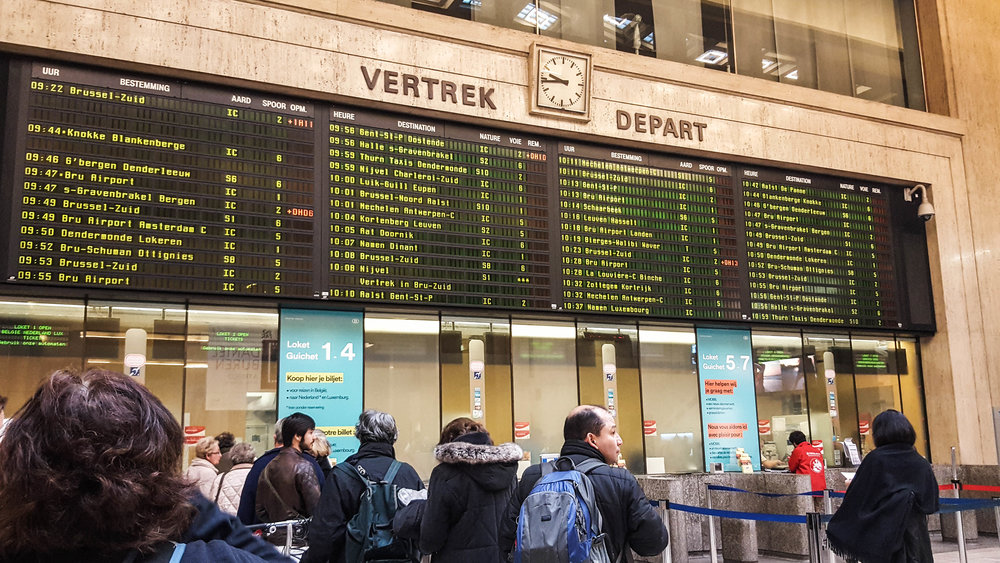 Brussels Central Train Station. Jump off point to Bruges. Just looking at the board convinced me that I made the right decision in joining the tour. :)