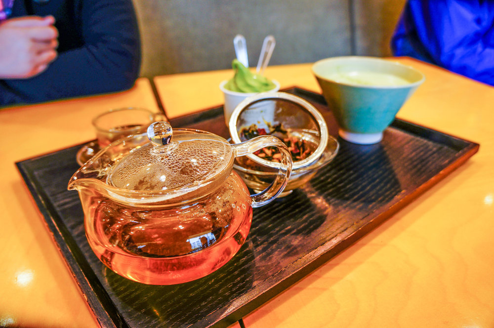 Hot and cold. Traditional tea, matcha, and a matcha soft-serve.