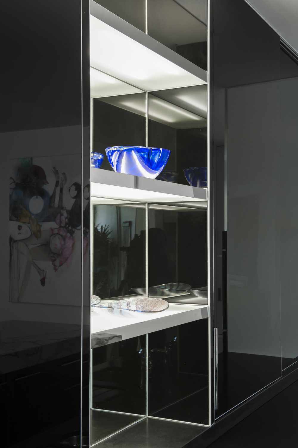 Rina Cohen Interiors, RCI Designs, Interior Design Black & White Award Galley Kitchen Detail