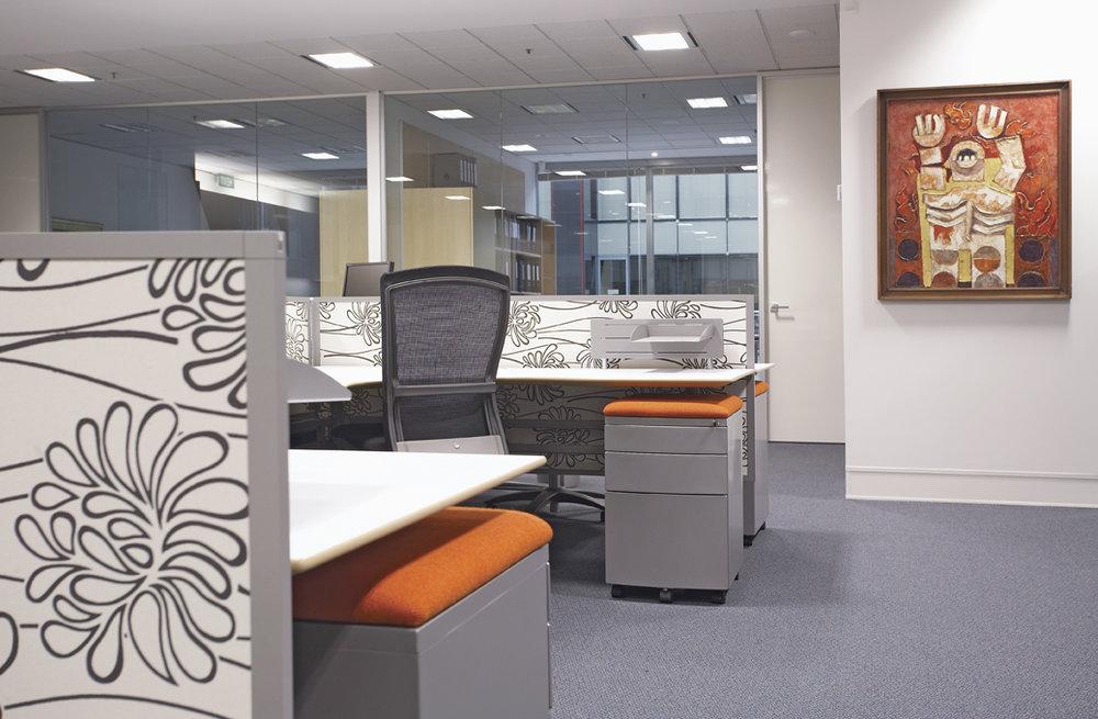 Rina Cohen Interiors, RCI Designs, Interior Design,RCI Designs Workstation view CBD Offices