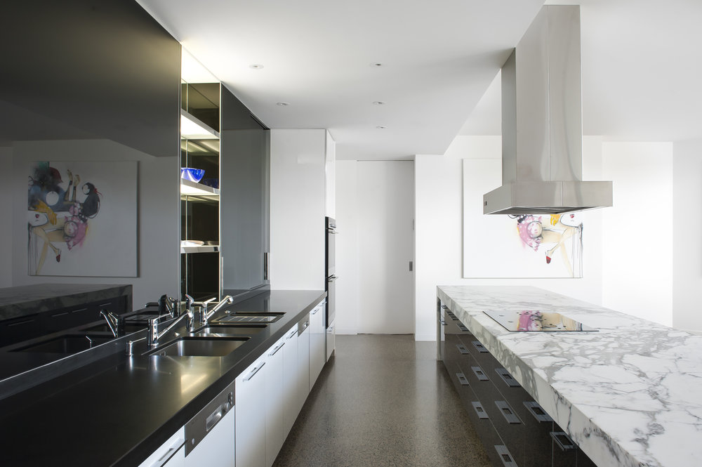 Rina Cohen Interiors, RCI Designs, Interior Design Black & White Award Galley Kitchen