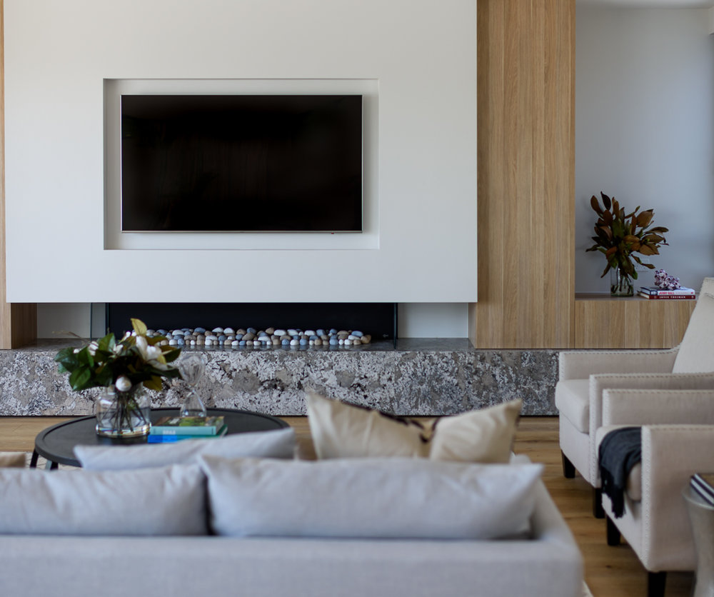 TV Fireplace view RCI Designs - Rina Cohen Interiors