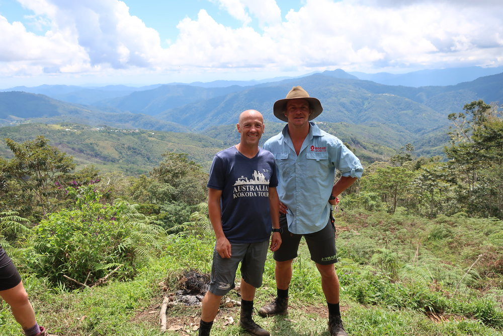 Our Director Mick O'Malley with Nick Cummins (Honey Badger) at Kokoda, October 2018.