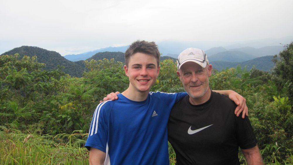 Tony Palmer and his son Jacob at Kokoda, June 2018.