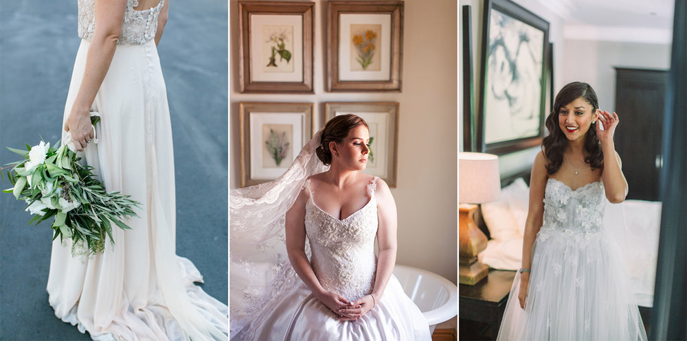From left to right: Suzanne's train was made by using her mother's chiffon veil (Photo: Lindie Meyer); Loreen's wore her mother's veil that was made of a beautiful Spanish lace (Photo: Moira West); Alyssa's dress had the lace and tulle from her mother's wedding dress including the original lace scallop (Photo: Moira West).