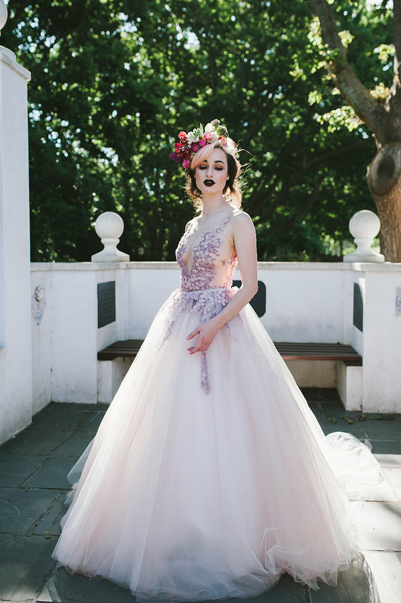 Valentina - Illusion tulle bodice with floral appliques and full tulle ballgown skirt.Size 8SALE PRICE: R25 000