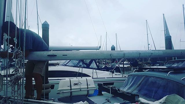 Boom's back! We had it welded back together and reinforced, 2 ft on either side, with 3mm strips of aluminium. She doesn't look pretty but after two years sailing offshore I now know pretty is overrated 😂 . Now we just need to sew the slides back onto the main (we cut them off to use on our hank on storm jib when we jury rigged it into a trisail) and Tioga will look like a sailboat again ✌🏽 . #diy #diysailing #offshore #offshoresailing #offshoresailors #sail #sailboat #sailing #sailors #sailtheworld #sailingtheworld #boat #boating #boatlife #adventure #adventurelife #travel #traveltheworld #travellife #travelgram #instatravel #tedsetssail #tedadventures
