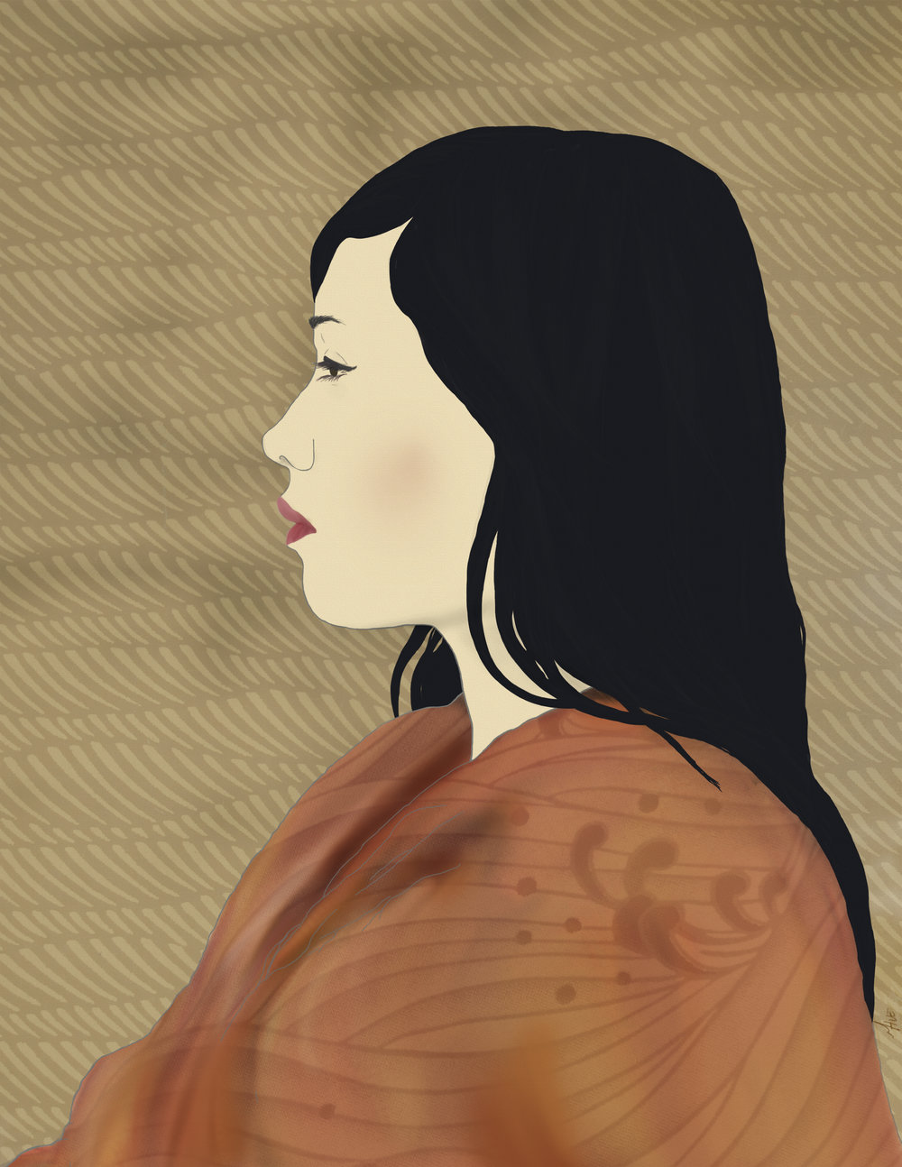 japanese style painting of sam.