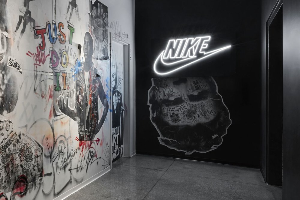 The outside of Nike's NYC Digital Studio located in Manhattan's Flatiron District. Here a team of engineers and designers dedicates its time to reimagining the point where tech and sneaker culture meet.