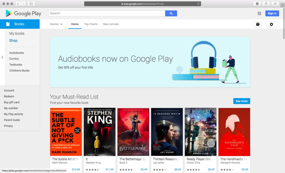 Google Play Audio Book 2