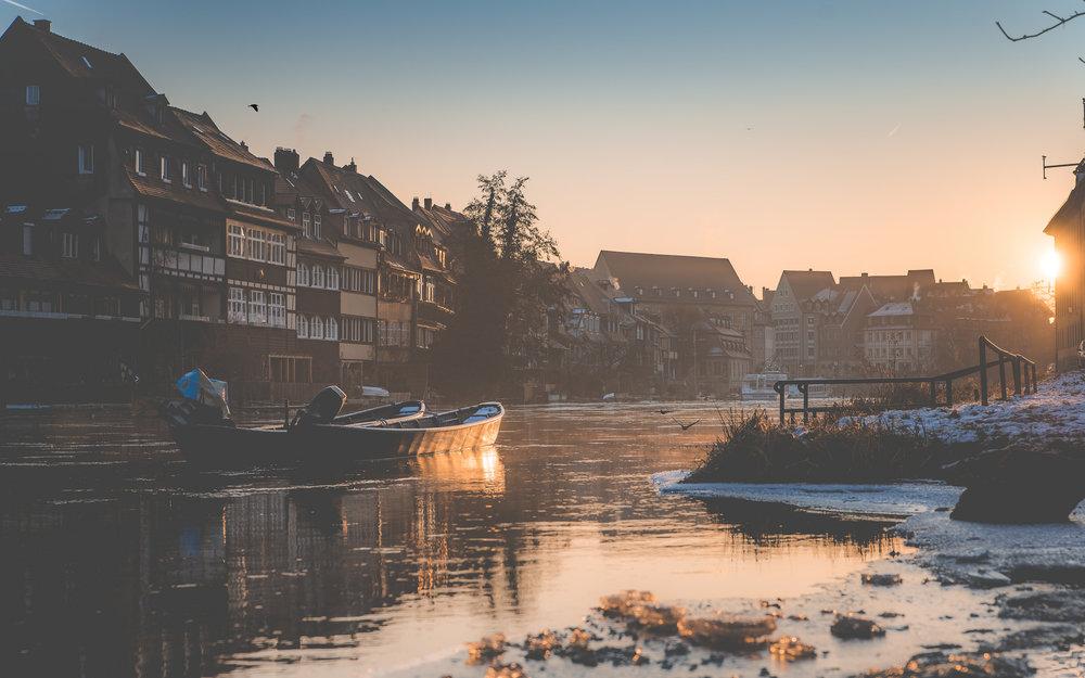 Sonnenaufgang über der Regnitz in Bamberg - Klein Venedig