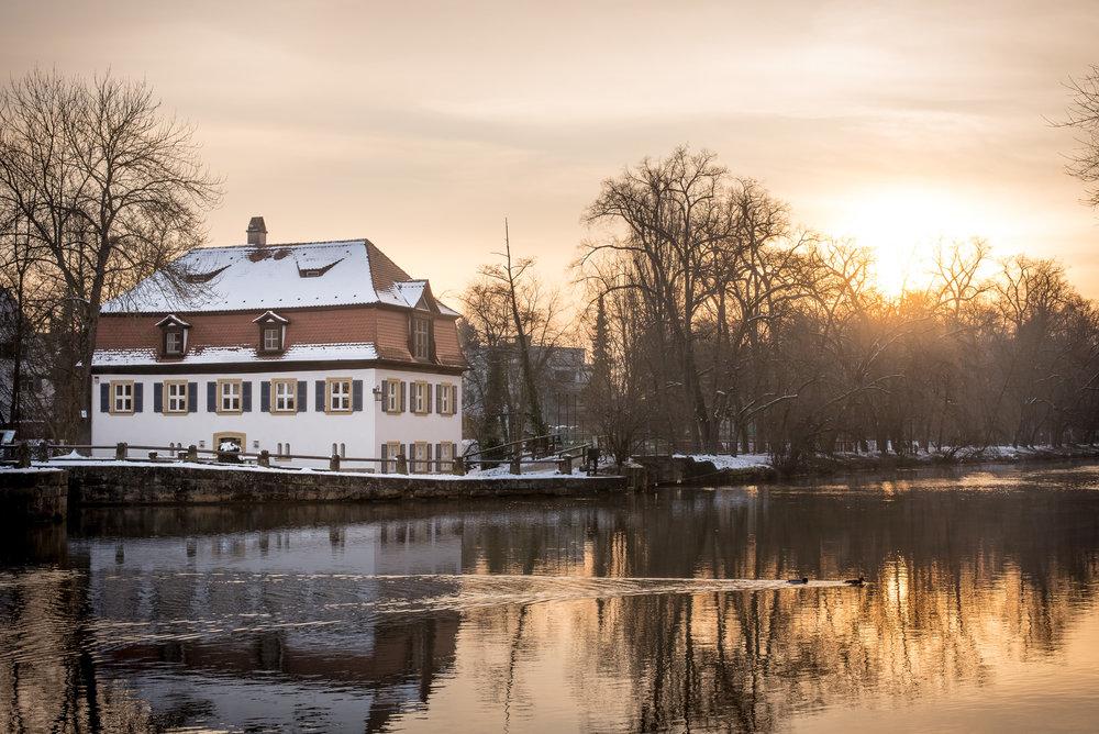 Sonnenaufgang Schleuse 100 Bamberg