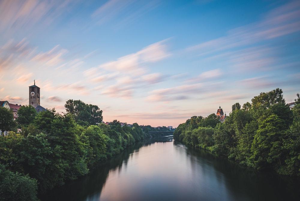 Sonnenaufgang von der Luitpoldbrücke Bamberg
